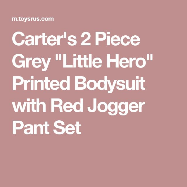 "Carter's 2 Piece Grey ""Little Hero"" Printed Bodysuit with Red Jogger Pant Set"