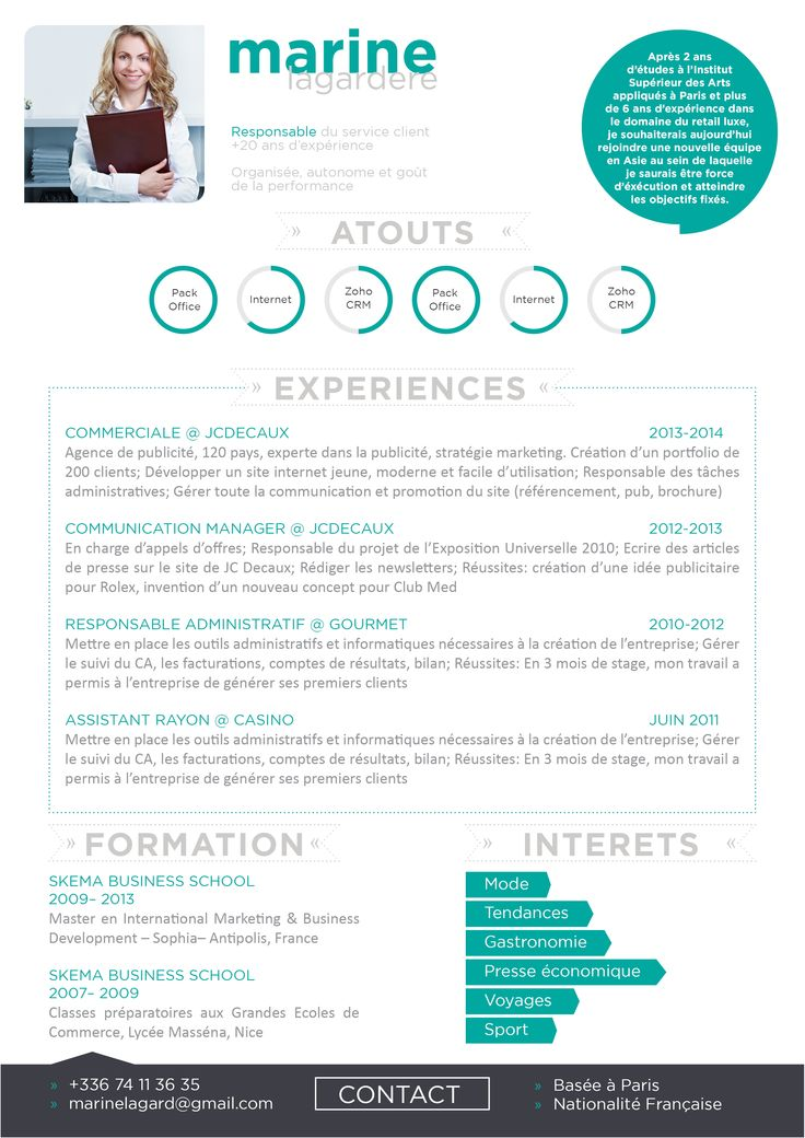 Souvent 37 best CV Modernes images on Pinterest | MBTI, Hunting and Resume QM04