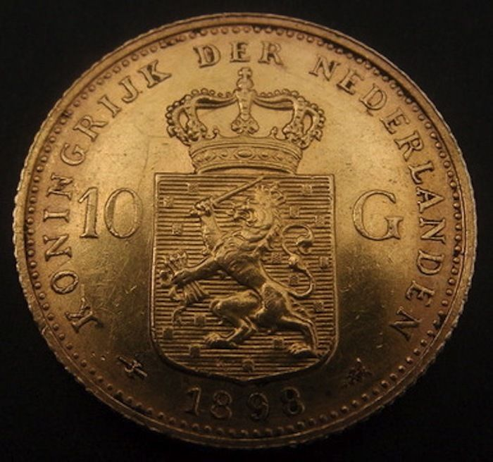 Nederlands - 10 gulden 1898 b Wilhelmina gold