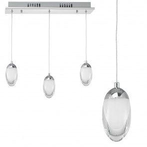 [lux.pro] Lampadario LED Design 3-fuochi Cromo Acciaio inox Ovale Vetro Bianco 46,20 €