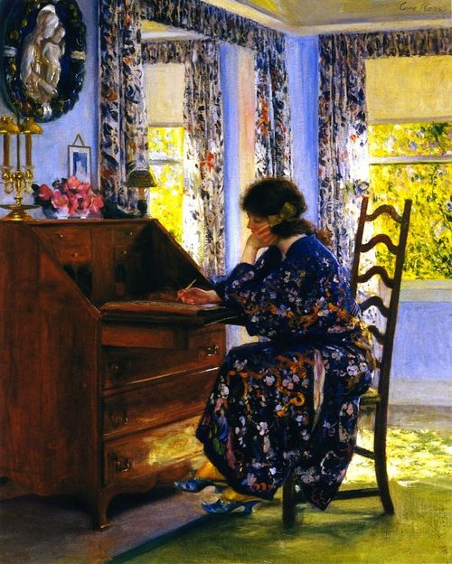 The Difficult Reply (1910). Guy Rose (American, Impressionism, Japonism, 1867-1925). Oil on canvas.  Rose features a woman sitting at her desk trying to write a letter that's not coming easily. Color and Japonism influence is seen in the woman's elegant kimono, the chintz curtains, and the light coming in the windows.