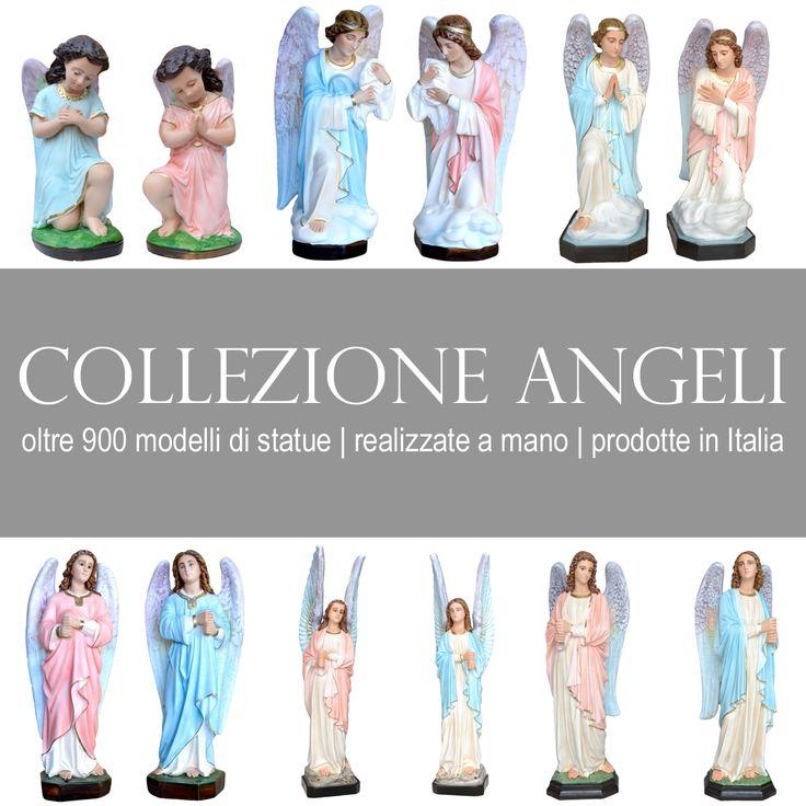 La raccolta delle statue raffiguranti angeli in adorazione e angeli porta candelabri. In gesso, in resina piena e vuota, ed in vetroresina. Con occhi dipinti e con occhi di vetro,   http://www.ovunqueproteggimi.com/collezione-statue/angeli/