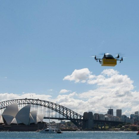 "News: a Sydney company has launched a book delivery service that employs flying robots instead of postmen, and declared that ""commercial drones are going to become as ubiquitous as aeroplanes"" (+ movie)."