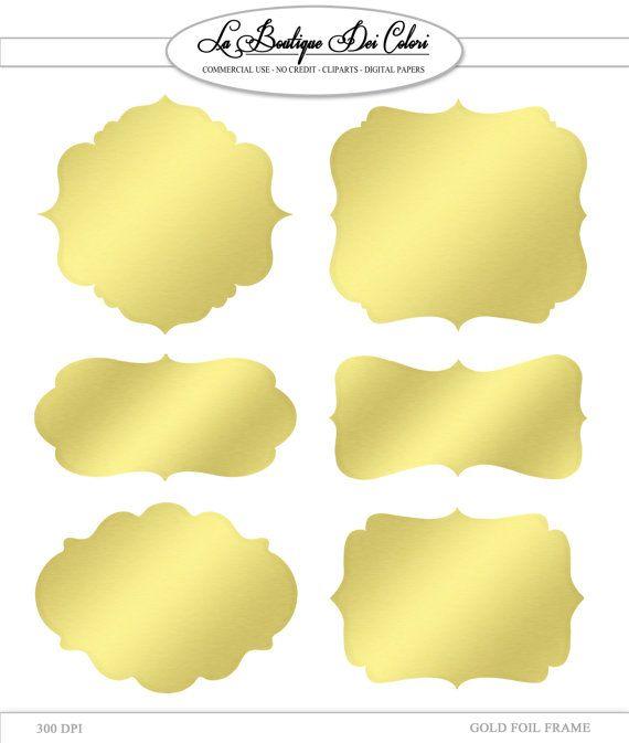 Clip Art Gold Foil Frames Labels tags by LaBoutiqueDeiColori