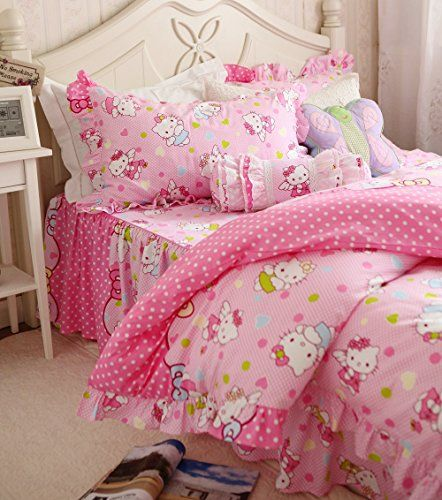 FADFAY Cute Hello Kitty Bedding Set Twin Full Queen King Hello Kitty Duvet  Cover Bed Set