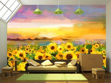 Wall26   Oil Painting Yellow  Golden Sunflower, Daisy Flowers In Fields.    Removable Part 94