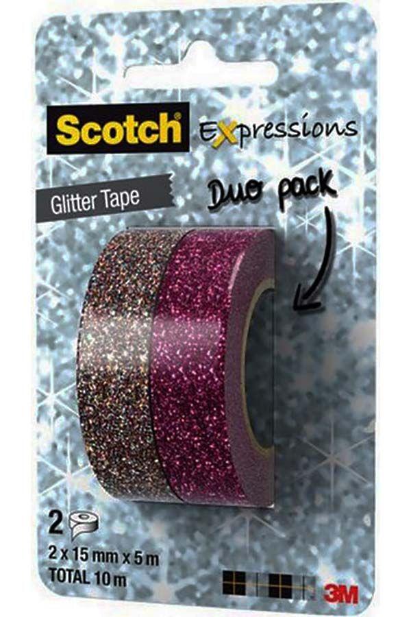 Διακοσμητικές ταινίες αυτοκόλλητες SCOTCH expressions 3M φούξια-ασημί glitter C514 Ταινίες αυτοκόλλητες με glitter από την εταιρία SCOTCH της 3M. Διακοσμητικές ταινίες washitape με την οποίες μπορείτε να τελειοποιήσετε τις χειροτεχνίες