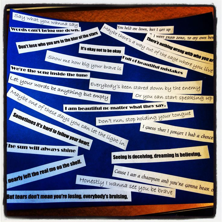 """This therapist has her middle school girls cut out their favorite lyrics from girl power songs and make collages. When they were done, some even added their own positive affirmations! The songs she used were """"Brave"""" by Sara Bareilles, """"Roar"""" by Katy Perry, """"Beautiful"""" by Christina Aguilera, and """"Who you are"""" by Jessie J. I would add """"You Don't Own Me"""" and """"Don't Make Me Over."""""""