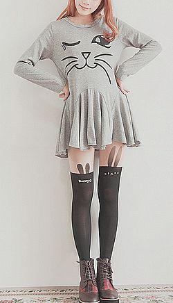 Cute Asian Fashion // Wouldn't pair it with those boots though