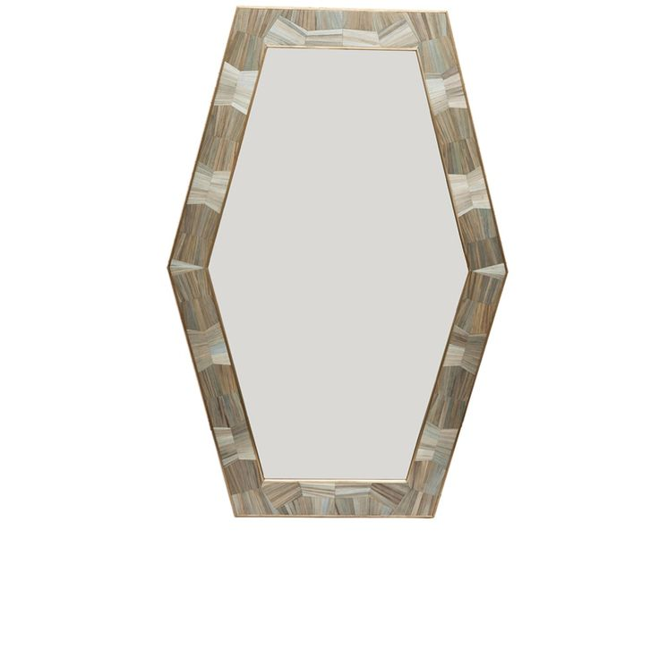 Hexagonal Straw Marquetry Mirror - Contemporary Mirrors - Dering Hall