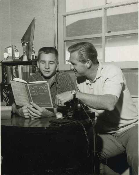 Beau Bridges with his dad 'diving' actor star (least that's what most Boomer kids knew him for his TV show, Sea Hunt) - Beau is still in high school here (he went to Venice Hi) so this is around 1958.