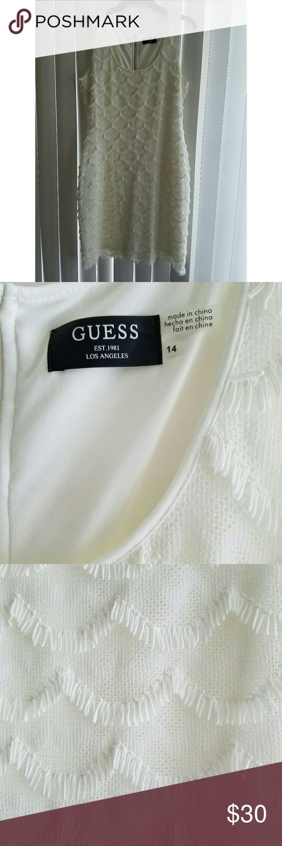 Size 14 Ivory Guess Dress. 30's style Guess Dress. Size 14. Ivory colored, with scallop details and fringe. Brand new. Never worn. Missing tags. Guess Dresses Mini