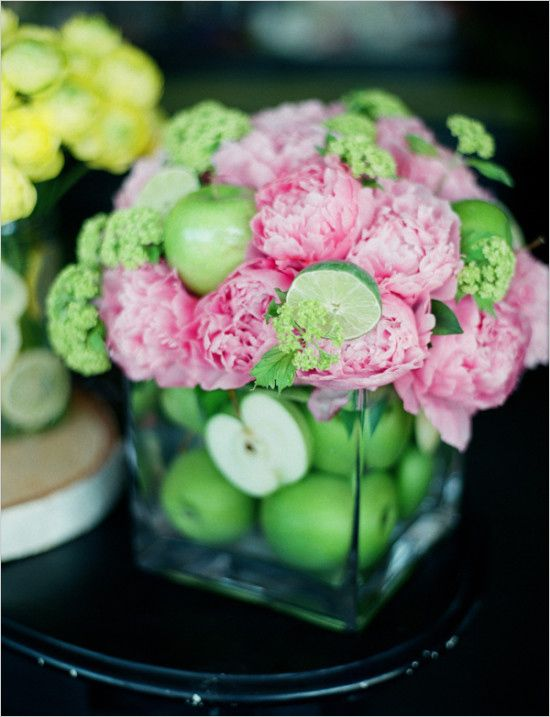 Apple, lime, and peony centerpiece. Captured By: Kirill Bordon Photography ---> http://www.weddingchicks.com/2014/06/11/diy-springtime-bouquets/