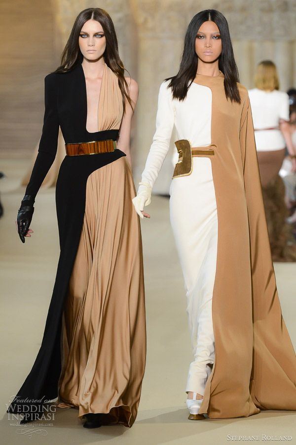 stephane rolland fall 2012 couture half color block dresses, evening wear, haute couture