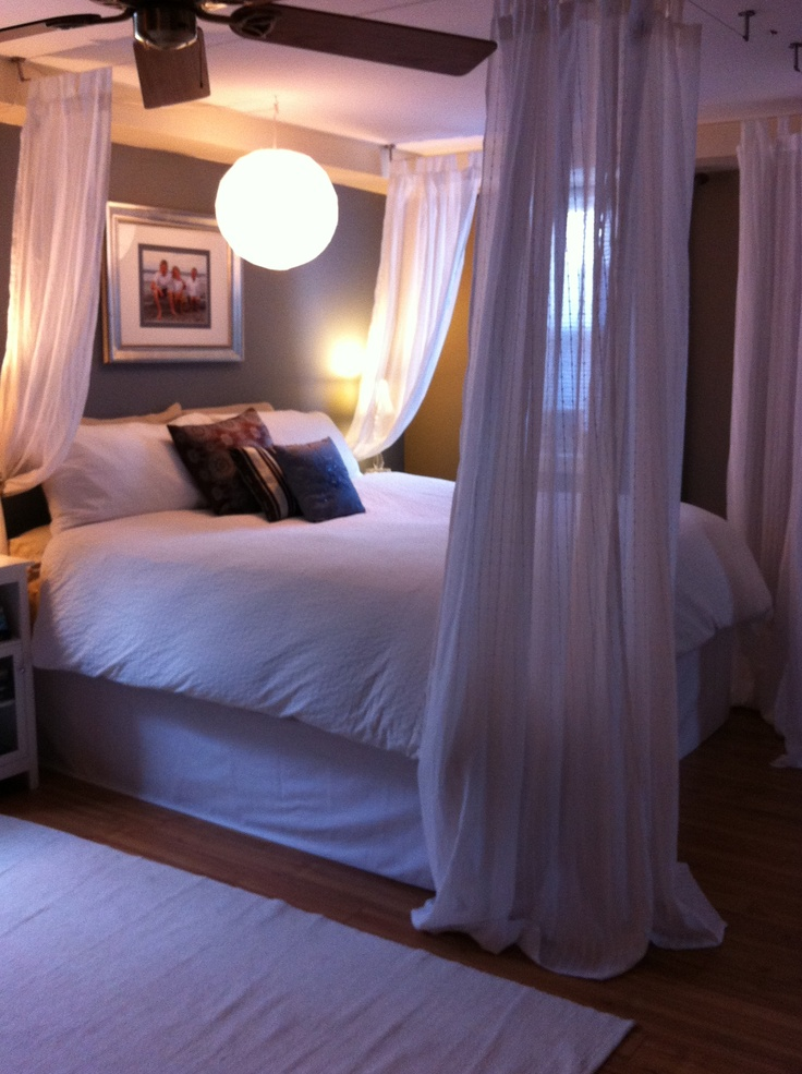 Ikea Hack Used Dignitet Curtain Wire System With Curtain Sheers To Create A 4 Poster Bed Feel