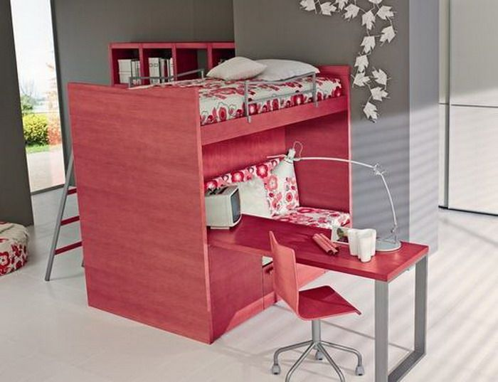 Teen girls loft bed with desk avant garde modern for Modern bunk bed with desk