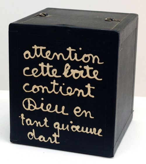 Benjamin Vautier (dit Ben), Attention cette boite…, 1966, via almanart.com