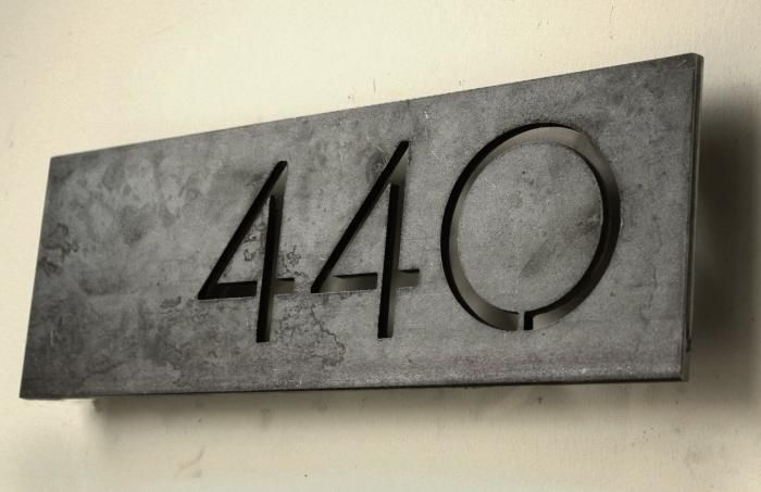 Offset Modern House Numbers.  Steel House Manufacturing