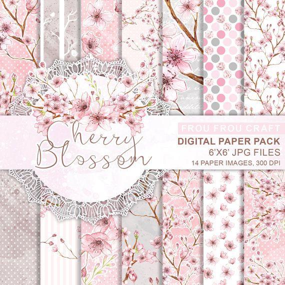 Cherry Blossom Digital Paper Pack Instant von froufroucraft auf Etsy