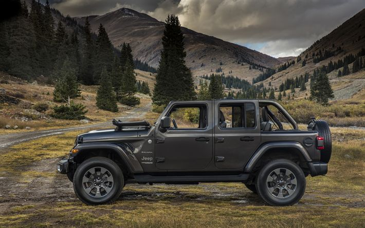 Download wallpapers Jeep Wrangler Sahara, 2018 cars, SUVs, 4x4, offroad, new Wrangler, Jeep