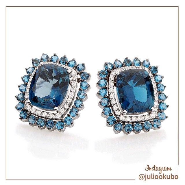 Brinco em Ouro Branco com Diamantes e Topázio Azul. Nova coleção Julio Okubo. #jewellery #jewelry #handmade #pearls #perolas #diamonds #juliookubo #noivas #bridal #joiasparanoivas #luxury #iguatemisp