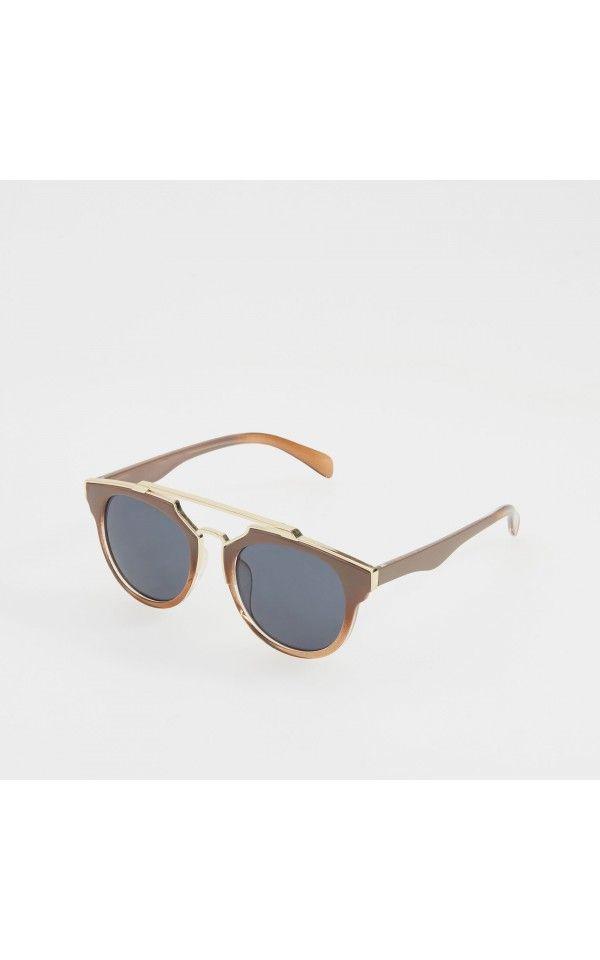 Okulary przeciwsłoneczne, OKULARY, brĄzowy, RESERVED