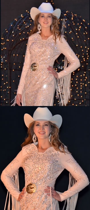 Morgan Blackhurst, 2011 Wilderness Circuit Rodeo Queen wears a blush lambskin dress