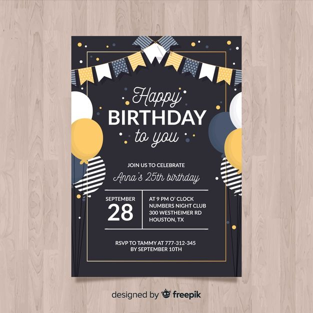 Birthday Invitation Template In Flat Style Free Vector Premium Vector F Birthday Invitation Card Template Birthday Invitation Templates Birthday Invitations