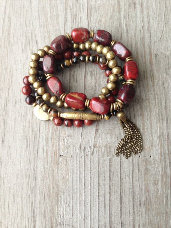 Red Jasper African Beaded Tassel Set by IsabellaRaeJewelry