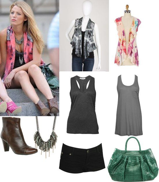 On Serena: Chelsea Flower Tie-Dye Vest, Alexander Wang Pocket Tank, Winifred Grace Necklace(s), Be & D Cosette Hobo