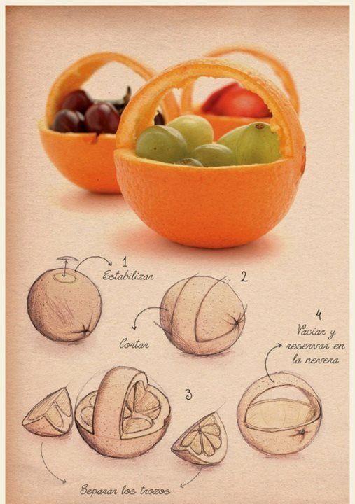 Cestas de naranja con frutas