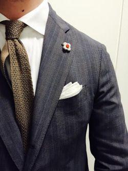 Lardini blazer and olive knitted tie