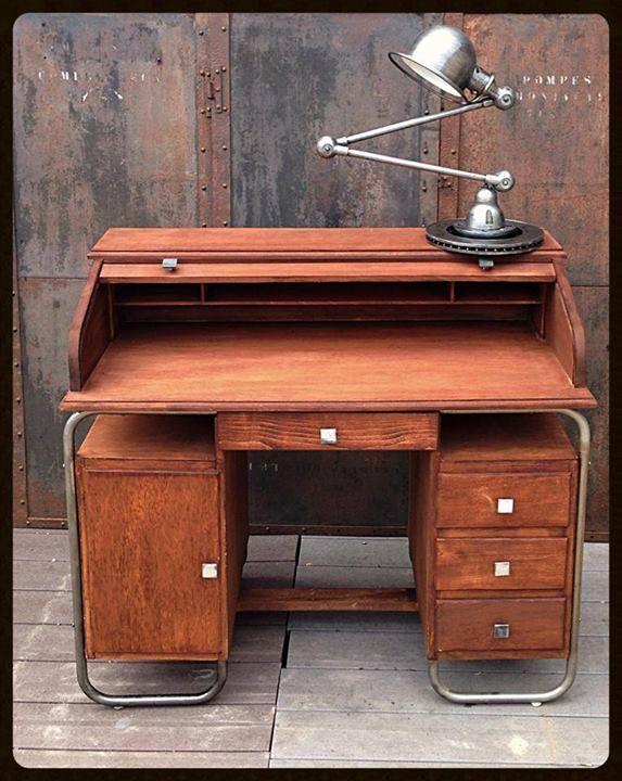 bureau torck bureau am ricain structure tubulaire en acier patine graphite plateau et tiroirs. Black Bedroom Furniture Sets. Home Design Ideas