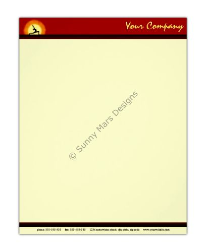 Yoga Sunrise Yoga Teacher Letterhead by sunnymars of SunnyMarsDesigns in association with Zazzle.  This cool red and yellow custom yoga letterhead features the silhouette of a woman practicing yoga with the sunrise in the background.