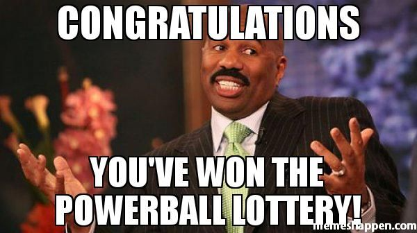 Congratulations You've won the POWERBALL lottery!