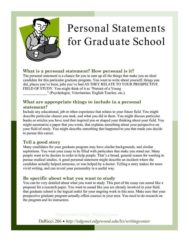 Sample Personal Statements Graduate School Personal
