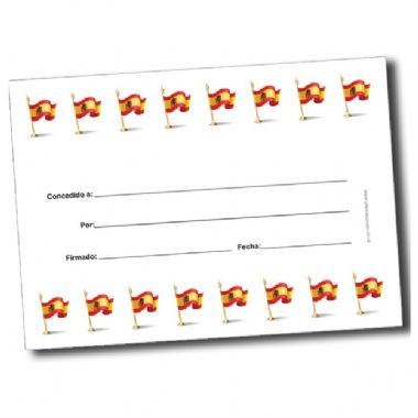 Customised A5 Spanish Flags Certificates