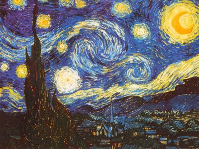 Starry Night, c.1889 by Vincent van Goh. This is arguably the most famous van Goh -- perhaps one of the most famous of all time. I love the swirled sky.