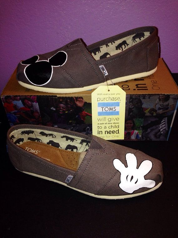 Gray Disney Toms Mickey/Glove by JudyMoodyDesigns on Etsy