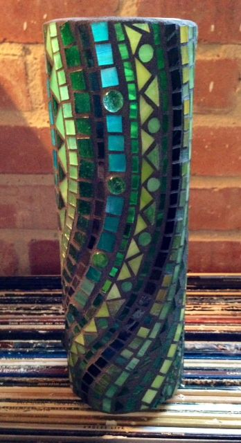 Glass-on-Glass Mosaic'd candleholder/vase