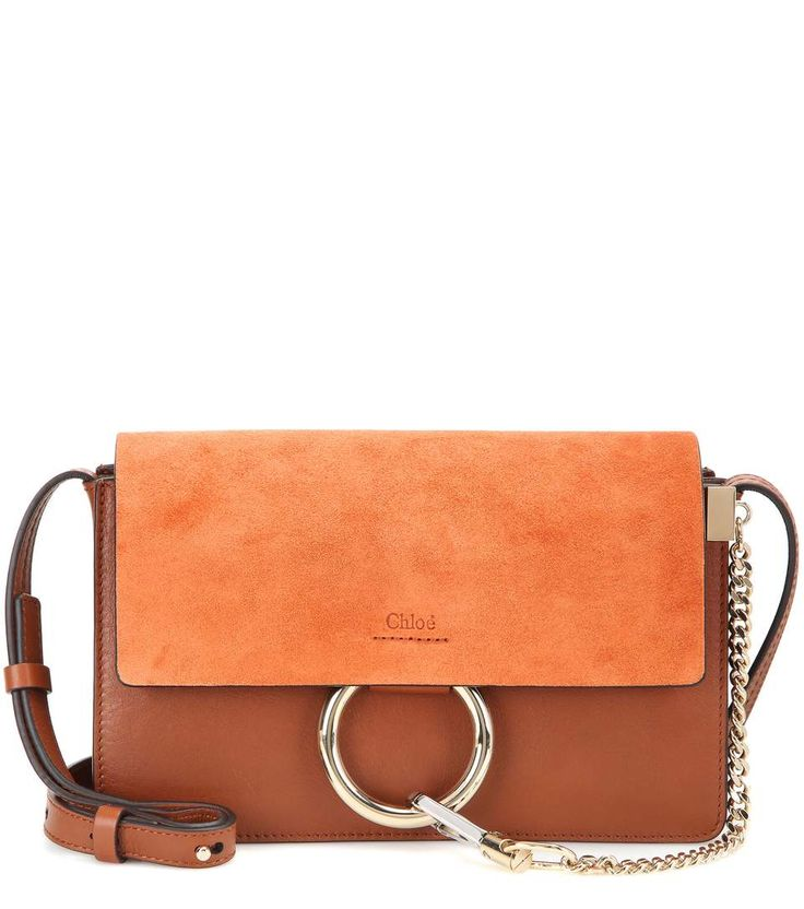 Faye Small brown suede and leather shoulder bag 1050€