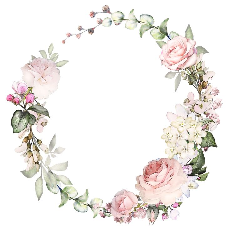 H746A (20) Printables Flower frame, Wreath watercolor