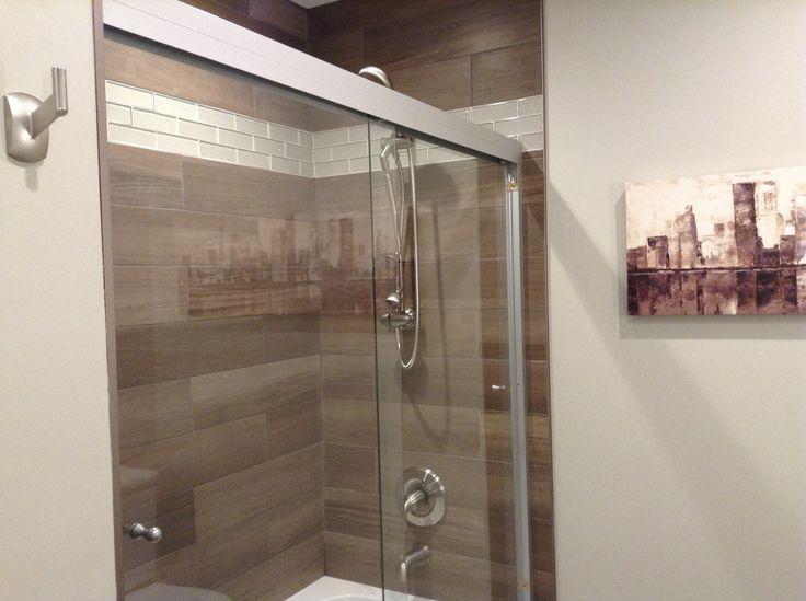 Wood look tiles in shower
