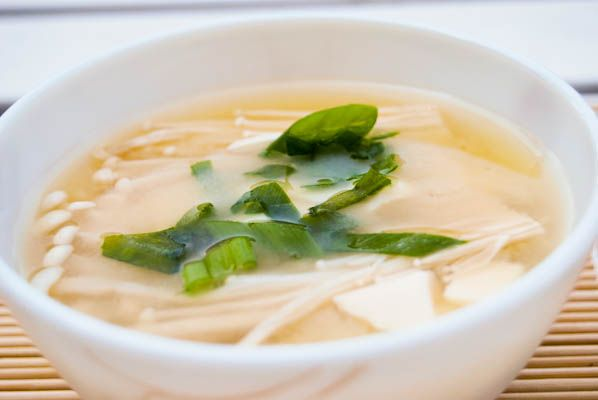 Miso Soup with Tofu and Enoki Mushroom | Casseroles, Chilis, Soups ...