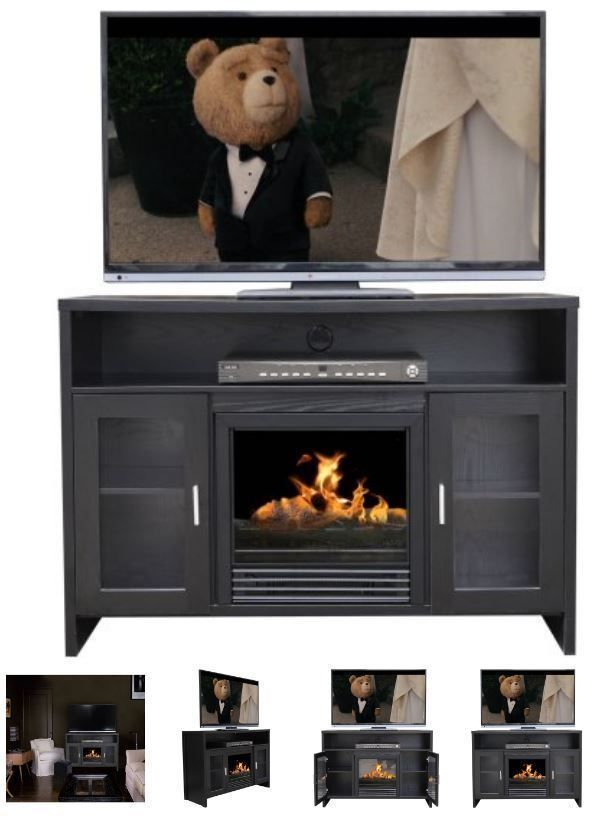 42 Inch TV Stand With Fireplace Media Console Electric Entertainment Center SALE #DcorFlame #Modern #tvstandsmodern