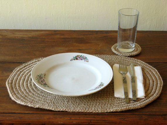 Hand crochet jute placemat and coaster oval placemat - Set de table crochet ...