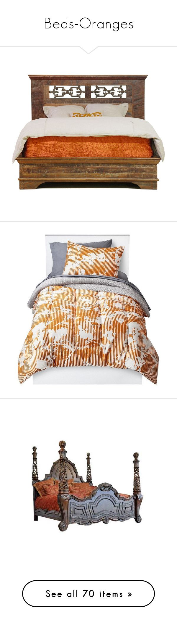 """""""Beds-Oranges"""" by shadows-of-design ❤ liked on Polyvore featuring bed, furniture, bedroom, camas, home, beds, bed & bath, bedding, orange pillow cases and orange bed set"""