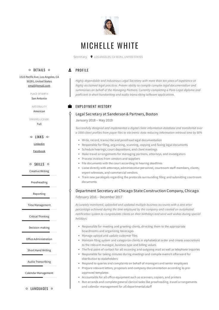 Secretary Resume & Writing Guide in 2020 Teacher resume