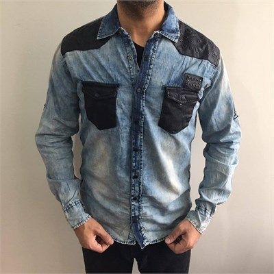 Erkek omuz ve cepleri derili mavi kot gömlek modellerini en ucuz fiyatlarıyla kapıda ödeme ve taksit ile Outlet Çarşım'dan satın al.