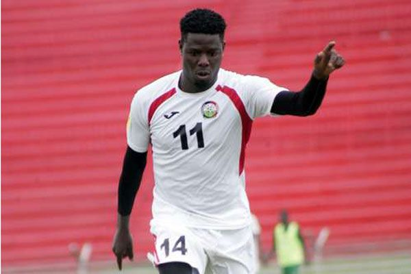 Harambee Stars striker Allan Wanga in action during a past training session. PHOTO | CHRIS OMOLLO |